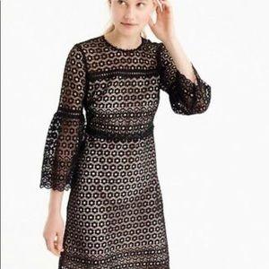 NWT J. Crew Bell-sleeve daisylace Black dress